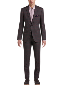 Mens Holiday Suits, Holiday Style - Paisley & Gray Slim Fit Suit Separates Coat, Maroon Plaid - Men's Wearhouse