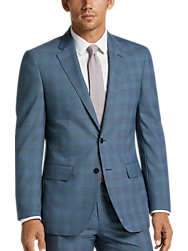 JOE Joseph Abboud Blue Plaid Slim Fit Suit