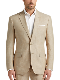 JOE Joseph Abboud Tan Chambray Linen Slim Fit Suit