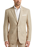 JOE Joseph Abboud Tan Chambray Linen Slim Fit Suit Separates Coat