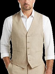 Mens The New Style, Suits - JOE Joseph Abboud Tan Chambray Slim Fit Suit Separates Vest - Men's Wearhouse