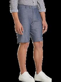 Mens Slim Fit, Pants & Shorts - Paisley & Gray Slim Fit Suit Separates Shorts, Blue Chambray - Men's Wearhouse