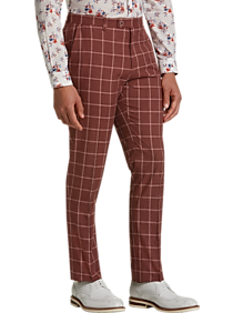 Mens Slim Fit, Pants & Shorts - Paisley & Gray Slim Fit Suit Separates Pants, Rust Windowpane - Men's Wearhouse