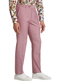 Men's Vintage Pants, Trousers, Jeans, Overalls Paisley  Gray Slim Fit Suit Separates Dress Pants Soft Red $19.99 AT vintagedancer.com