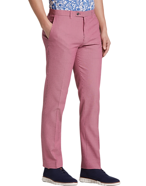Paisley Gray Slim Fit Suit Separates Pants Pink Seersucker