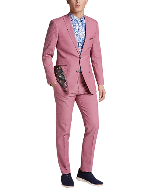 Paisley Gray Slim Fit Suit Separates Coat Pink Seersucker