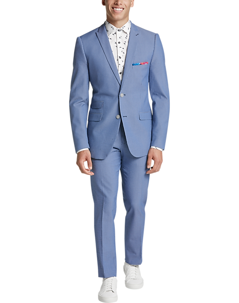 Paisley Gray Slim Fit Suit Separates Coat Blue Seersucker