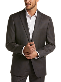 Mens The New Style, Suits - Calvin Klein Brown Check Slim Fit Suit - Men's Wearhouse