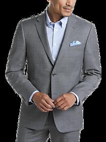 Mens Tommy Hilfiger, Suits - Tommy Hilfiger Gray Windowpane Sharkskin Slim Fit Suit - Men's Wearhouse