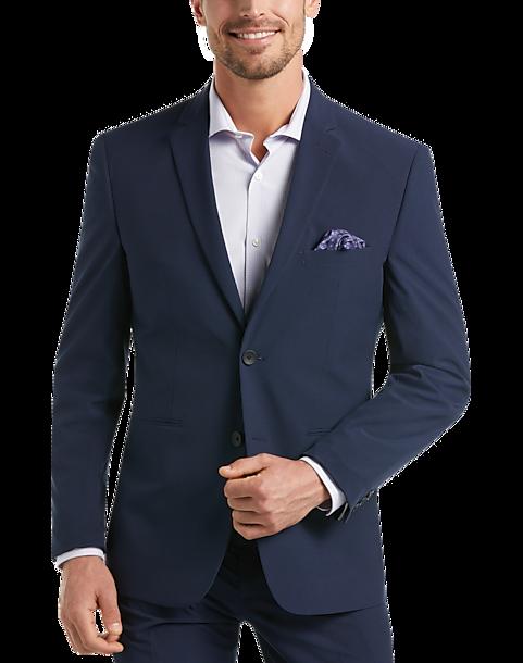 Details about  /42 L Midnite by Perry Ellis Navy Blue Tuxedo Stripe Jacket Pants