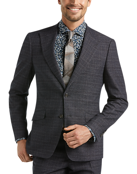 Suitor Charcoal Brown Plaid Slim Fit Vested Suit