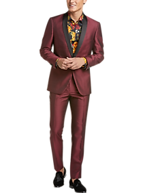 Mens Slim Fit, Suits - Paisley & Gray Slim Fit Suit Separates Coat, Red Houndstooth - Men's Wearhouse