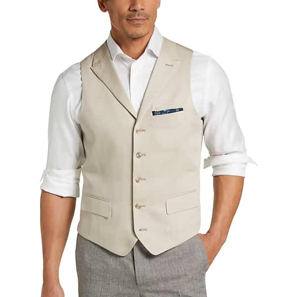 1920s Style Mens Vests Joseph Abboud Tan Modern Fit Mens Suit Separates Vest - Size XXL $129.99 AT vintagedancer.com