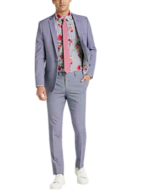 Mens Suits, Big & Tall - Paisley & Gray Skinny Fit Suit Separates Jacket, Blue and Red Windowpane Plaid - Men's Wearhouse