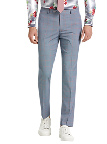 Mens Paisley & Gray, Pants - Paisley & Gray Skinny Fit Suit Separates Slacks, Blue and Red Windowpane Plaid - Men's Wearhouse