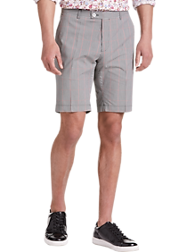 Mens Paisley & Gray, Pants - Paisley & Gray Skinny Fit Suit Separates Shorts, Black and Red Gingham - Men's Wearhouse