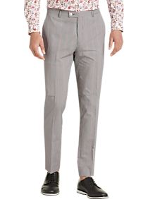 Mens Paisley & Gray, Pants - Paisley & Gray Skinny Fit Suit Separates Slacks, Black and Red Gingham - Men's Wearhouse