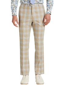 Men's Vintage Pants, Trousers, Jeans, Overalls Paisley  Gray Slim Fit Suit Separates Slacks Tan and Blue Plaid $79.99 AT vintagedancer.com