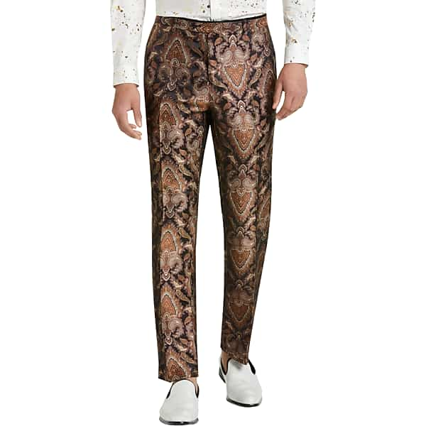 1970s Men's Clothes, Fashion, Outfits Paisley  Gray Mens Slim Fit Suit Separates Formal Pants Gold  Bronze Paisley - Size 29 $49.99 AT vintagedancer.com