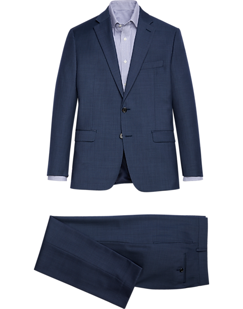 Lauren by Ralph Lauren Blue Sharkskin Classic Fit Suit
