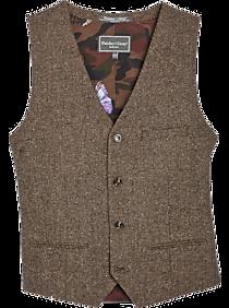 Men's Vintage Vests, Sweater Vests Paisley  Gray Slim Fit Suit Separates Vest Gray  Brown Herringbone $49.99 AT vintagedancer.com