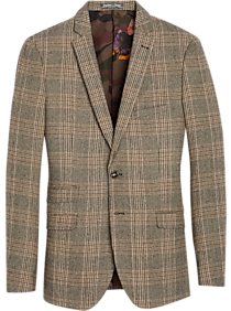 Men's Vintage Style Suits, Classic Suits Paisley  Gray Slim Fit Suit Separates Coat Tan and Brown Plaid $189.99 AT vintagedancer.com