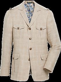 1970s Men's Clothes, Fashion, Outfits Paisley  Gray Slim Fit Field Suit Separates Jacket Brown and Ecru Plaid $189.99 AT vintagedancer.com