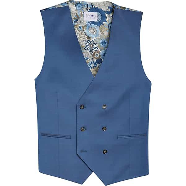 1930s Men's Clothing Tayion Mens Classic Fit Suit Separates Vest Blue - Size XXL $69.99 AT vintagedancer.com