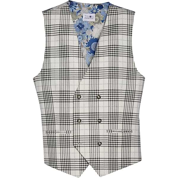 1920s Men's Style Clothing Tayion Mens Classic Fit Suit Separates Vest Black Plaid - Size Large $39.99 AT vintagedancer.com