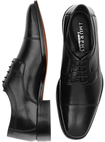 Mens 30% Off Shoes, Shoes - J. Murphy by Johnston & Murphy Novick Black Cap Toe Lace Up Shoes - Men's Wearhouse