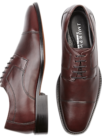 Mens 30% Off Shoes, Shoes - J. Murphy by Johnston & Murphy Novick Burgundy Cap Toe Lace Up Shoes - Men's Wearhouse