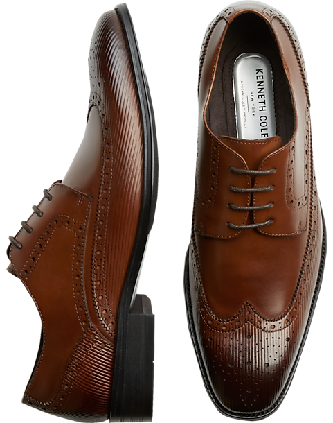 Kenneth Cole TECHNI-COLE Cognac Wingtip Oxfords