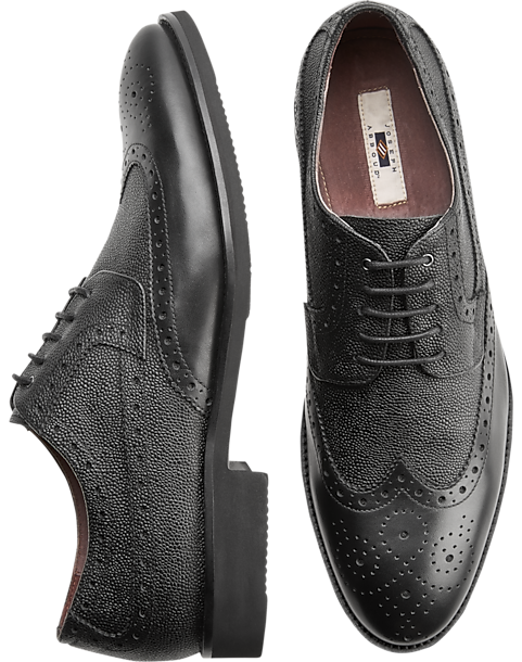 Joseph Abboud Snyder Black Wingtip Oxfords