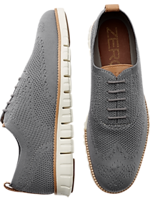 Mens Shoes - Cole Haan Zerogrand Stitchlite Gray Wingtip Oxfords - Men's Wearhouse