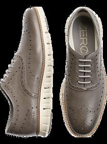 Mens Oxfords, Shoes - Cole Haan Zerogrand Gray Wingtip Oxfords - Men's Wearhouse