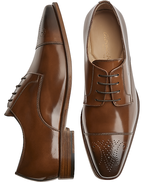 Giovacchini Mike Cognac Cap Toe Derby Dress Shoes
