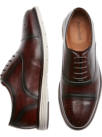 Mens Oxfords, Shoes - Belvedere Lampard Brown Cap-Toe Medallion Oxfords - Men's Wearhouse
