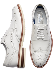 1950s Men's Shoes | Boots, Greaser, Rockabilly Awearness Kenneth Cole AWEAR-TECH Kite Flex White Wingtip Derbys $124.99 AT vintagedancer.com