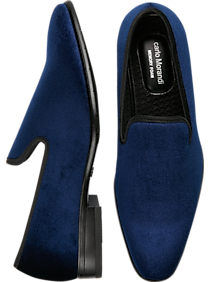 Carlo Morandi Navy Velvet Slip-On Smoking Shoe