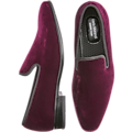 Carlo Morandi Burgundy Velvet Slip-On Smoking Shoe