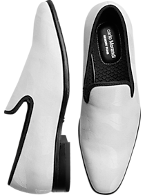 1960s Men's Clothing Carlo Morandi Ivory Jacquard Slip-On Smoking Shoes $62.99 AT vintagedancer.com