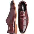 Carlo Morandi Eastman Burgundy Medallion Cap Toe Derbys