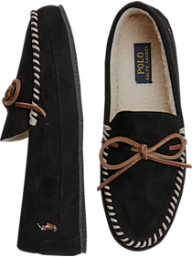 Mens Best Sellers, Shoes - Polo Ralph Lauren Markel Black Moccasin Slippers - Men's Wearhouse