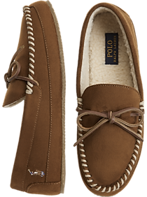 Mens Slippers, Shoes - Polo Ralph Lauren Markel Tan Moccasin Slippers - Men's Wearhouse