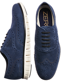 Mens Shoes, Polished Casual - Cole Haan Zerogrand Navy Suede Wingtip Oxfords - Men's Wearhouse