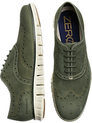 Cole Haan Zerogrand Green Suede Wingtip Oxfords