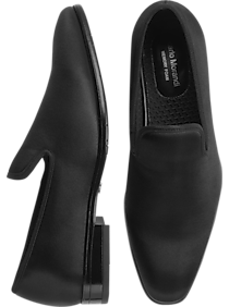 Men's 1950s Shoes Styles- Classics to Saddles to Rockabilly Carlo Morandi Black Satin Smoking Shoes $62.99 AT vintagedancer.com