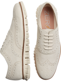 Mens Cole Haan, Shoes - Cole Haan Zerogrand Ivory Suede Wingtip Oxfords - Men's Wearhouse