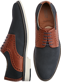 Men's 1950s Shoes Styles- Classics to Saddles to Rockabilly Johnston  Murphy Reedy Navy Saddle Lace Ups $139.99 AT vintagedancer.com