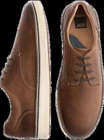 Johnston & Murphy McGuffey Brown Plain Toe Leather Sneakers